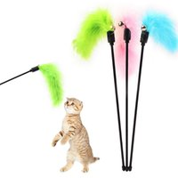 Wholesale 41CM Cat Kitten Pet Teaser Turkey Feather Interactive Fun Stick Toy With Pretty Bell Wire Chaser Wand