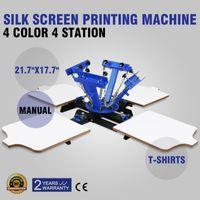 Wholesale Shirt Printer Free Shipping - Free shipping 4 Color 4 Station Silk Screen Printing Equipment Multifunction Strong power T-shirts Cap Printer Hot sales