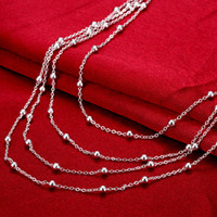 Wholesale Wholesale 925 Beaded Ball Necklace - Little balls pendants charm beaded Necklaces chokers chains 925 pure silver n751 gifts Christmas Halloween 2016 New Jewelry