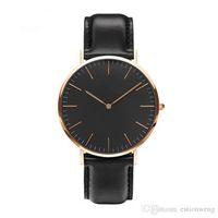 Wholesale Clock Plates - 40mm Luxury Gold Disk Black Plate Watches Women Men Watch Leather Strap Fashion Wristwatch Clock Quartz NEW