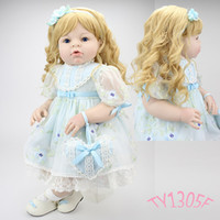 Wholesale Wigs For Bjd Dolls - 28 inch Realistic Toddler Reborn Dolls with Blonde Wig and High Quality Princess Toy Doll Dress Gift for sale