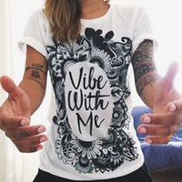 Wholesale Punk Clothing Women Xl - Wholesale-Free shipping Women Totem T-shirt 2016 Vibe With Me Print Sun harajuku Punk Fashion Tee Graffiti Flower Women Clothing Plus Size