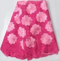 ingrosso tessuto africano di cotone rosa-Tessuto africano del voile africano del pizzo del cotone africano molle molle di Fushia con i fori dell'occhiello alta qualità 5 cantieri 9113