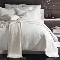 king taies d'oreiller blanc achat en gros de-Coton pastoral Quilting courtepointes crème à broder lavé à l'eau blanc couvre-lit couvre-lit taille King Size couvre-lit patchwork