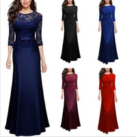 Wholesale Wholesale Maid Honor Dresses - Dresses Women's Lace Bridesmaid Wedding Dress Party Dinner Evening Dress Prom Gown Elegant Dresses Long Formal Maid Of Honor Dresses B2744