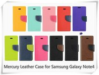 Hot Selling Mercury Wallet PU Leather Flip Case com suporte Holder Slot de cartão para Samsung galaxy A3 A5 A7 J5 S5 S4 S3 Note7 com pacote