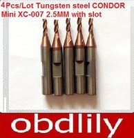 Wholesale Key Tungsten - 4pcs lot Original Quality Tungsten steel CONDOR Mini XC-007 carbide end milling cutter Key Cutter 2.5MM with slot XC MINI Probe