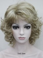 Wholesale Woman Beautiful Short Wigs - free shipping charming beautiful new Hot sell Best Honey Ash Blonde Mixed Short Curly Women ladies Synthetic Fluffy Wig