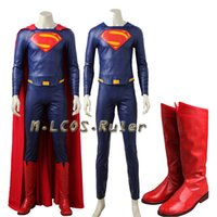 Wholesale plus size superhero costume for sale - Superman From Justice League Superman Kent Cosplay CostumeTop Pant Clark Boots Superhero Halloween Outfit Custom Made