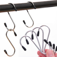 Wholesale Pot Hangers - New Arrival 4pcs lot S Shaped Hooks Stainless Steel Hanger Clasp Rack For Clothes Pot Pan Kitchen Hooks Clasp Holder