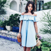 Wholesale Babies Ruffled Dresses - Off shoulder denim dress shirt Sexy short baby blue dress Casual ruffles jeans dress summer style vestidos