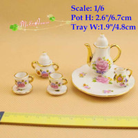 Wholesale Dollhouse Cups - 1 6 scale Dollhouse Miniatures Porcelain Tea Set Coffee Set Pot Cup Doll House Tableware Kitchen Accessory Set 8 pieces