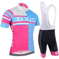 terno de lycra venda por atacado-BXIO Verão Ciclismo Set Mulher Esportes Terno de Corrida de Manga Curta Road Bike Jersey Com 3 Bolsos Roupas De Ciclismo BX-0209RB-013