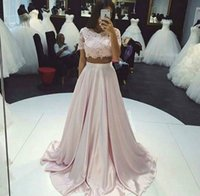 Wholesale Sexy Chiffon Short Fancy - 2 Pieces Dress for Prom Short Sleeve Vestidos Para Festa Appliques Ruched Scoop Fancy Party Evening Dresses Fashion Design for Girl
