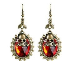 Hot Halloween Party Skull Designer Earrings pour les filles Ladies 5 Color Crystal Fashion Skeleton Charm Dangle Chandelier bijouterie à bas prix
