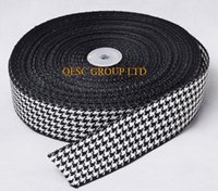 Wholesale Hats Belts Bags - 38mm Black White Houndstooth hemp cotton ribbon Plaid ribbon for fascinator hair accessory dress hat bag decoration belt