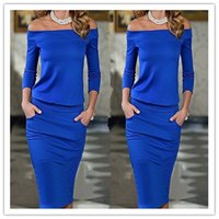 Wholesale Long Off Shoulder Bags - Europe and the United States 2016 new women's sexy Dress word collar waist pocket long sleeved bag hip Dress off shoulder Dress