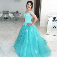 Wholesale Plus Size White Formal Gown - Ice Blue Ball Gown Prom Dresses Lace Appliques Sweetheart Short Sleeves Tulle Sweep Train Formal Evening Party Gowns Plus Size