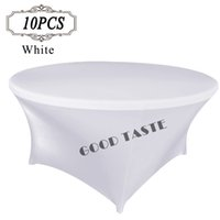 Wholesale Hotel Round Table - 10PC Wedding spandex table cover wholesale  Lycra white table cloth cover for banquet hotel table covering  party table covers Free Shipping