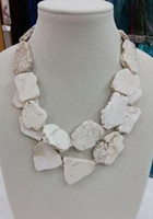 Wholesale Amber Chunky Necklace - Charm Chunky White Turquoise Slice Handmade BIb Necklace Woman Handmade 18''