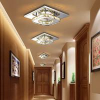 Wholesale Modern Squared Light Ceiling - Modern LED Crystal Ceiling Light Fixture Square Crystal Lamp 12W LED Pendant lamp for Hallway Corridor Asile LED Lighting Chandeliers