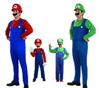 Wholesale Children Costumes Free Shipping - Free Shipping 2016 Hot Funny Cosplay Halloween Costumes Super Mario Luigi Brothers Fancy Dress Up Party Costume Cute Costume Adult Children