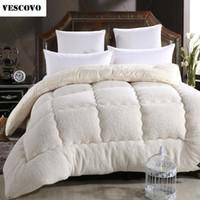 Wholesale Microfiber Quilt - Wholesale- Camelhair super warm winter wool quilt comforter duvet blanket Lamb Down Fabric filling queen king size single double