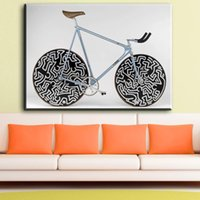 pintura al óleo sobre lienzo para cocina al por mayor-ZZ641 Hot Bike Canvas Painting Astract Moderno Impresión Del Aceite Poster Art Canvas Wall Pictures Kitchen Bar Cafe Decor Sin Decoración de Marco