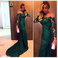 Wholesale Silver Gold Strapless Prom Gown - Cheap In Stock Fashion 2017 Dark Green Mermaid Lace Evening Dress Long Sleeves Women Formal Occasion Gown