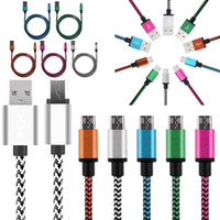 Wholesale Head Phone Plugs - 3.3FT 2A Braided Alumium Micro type C USB Data Sync Charging Cable for Android phone Samsung HTC LG With Metal Head Plug