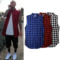 Wholesale Loose Side Shirts - Summer Plaid Shirt For Men Sleeveless Side Zipper Loose Casual Shirts White Red Blue Checked Long Tee Shirt Hip Hop Biker Tops YYG0307
