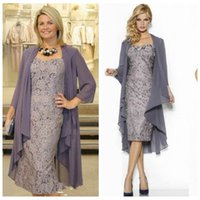 2017 Vintage Lace Grey Two Piece Mother of the Bride Dresses with Chiffon Jacket Плюс Размерная формальная вечерняя одежда для матери
