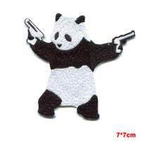 Wholesale Wholesale Bear Patches - kung fu PANDA BEAR wielding pistols guns EMBROIDERED IRON-ON PATCH banksy