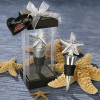 Wholesale Wine Bottle Box Shipping - 50Pcs Free Shipping Beach Starfish Wedding Wine Stopper Favor With Box Metal Birthday Party Gifts For Guests Wedding Favour Gift