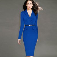 Wholesale Evening Dresses 4xl - Women's Fashion Full Sleeve Notched Collar Elegant Pencil Dresses Plus Size Slim Work Evening Party Dress 4XL With Belt Gift