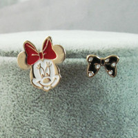 Wholesale Girls Clearance - CLEARANCE SALE !!! Sweet Lovely Minnie Mouse Bowknot Enamel Painted Ladies Girls Stud Earrings New High Quality