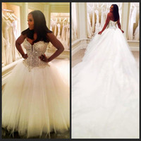 Wholesale Vintage Meters - Beading Dubai Nigerian Lace 3 METERS Wedding Dresses Custom Made Plus Size Open back Tulle Puffy Bridal Gowns Arabic Wedding Dress