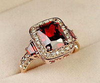 Wholesale Austrian Rectangle Crystal Ring - Hot selling!!! 18K Rose Gold Plated Perfect Cut Red Ruby Rectangle Austrian Crystal Luxury Lady Finger Ring Wholesale 18krgp