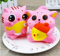 2018 Jumbo Kawaii Squishy Cat Eat Fish Lento Levantamiento Soft Scented Toys Squishies Niños Regalos para adultos Squeeze Pan Cake Sweet Scented