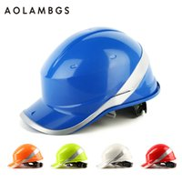 Wholesale Construction Hats - Safety Helmet Hard Hat Work Cap ABS Insulation Material With Phosphor Stripe Construction Site Insulating Protect Helmets 102018