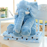 Wholesale 11Colors Elephant style Pillow Blanket Set Soft Plush Blankets Animal Stuffed Toys Cartoon Sofa Bedding Throw Pillow Cushion