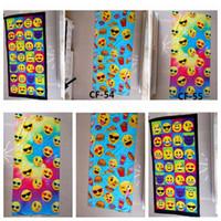 Wholesale Carton Design - 3 Designs 75*150cm Emoji Bath Towel Children Carton BathTowel Soft Beach Swimming Kids Favors Towels Party Favor for Kids CCA7131 30pcs