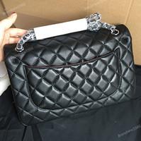 Wholesale Double Shoulder Handbag - Factory Sell Brand 30cm New Jumbo Lambskin Double Flap Bag w Silver Hardware Black Maxi Genuine Leather Gold Chain Flap Bag Women Handbags