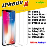 Wholesale Note Screen Protection - For iPhone X 8 8Plus 7 6 6S Tempered Glass Screen Protector for Samsung S6 edge S7 S8 Note 8 screen clear film protection Without Pakcage