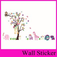 Wholesale Giraffe Tree Stickers - 5099 280*156CM King Tree cute owl monkey giraffe elephant 's foreign trade in Europe and America Hot Wall Sticker