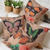 Wholesale Vintage Butterfly Cushion - 45cm Vintage America Country Butterfly Cotton Linen Fabric Waist Pillow 18inch Hot Sale New Home Decorative Sofa Car Back Cushion