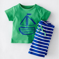 Wholesale Knit Striped Shirt - sailer boys T-shirts green striped pants baby boy clothes 2pcs baby boutique clothing summer baby boys clothing knit cotton kids clothes