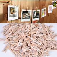 Wholesale Natural Wooden Clothes Pegs - 2016 Fashion 50x25MM Mini Natural Wooden Clothes Pin Photo Paper Peg Clothespin Craft Clips Free Shipping
