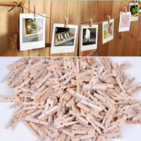2016 Fashion 50x25mm Mini vestiti di legno naturali Pin Photo Paper Peg Molletta Craft clip di trasporto