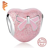 Wholesale bow charm pandora - BELAWANG 925 Sterling Silver Pink Charms Bow&Lace Heart Charm Beads Fit Pandora Charm Bracelets DIY Jewelry Making for Christmas Gift